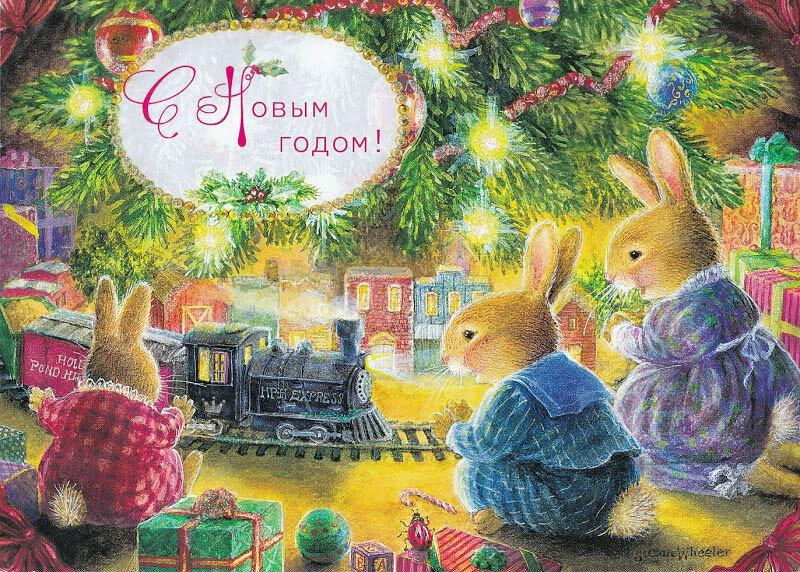 Открытка новый год с зайцами, опер картинка