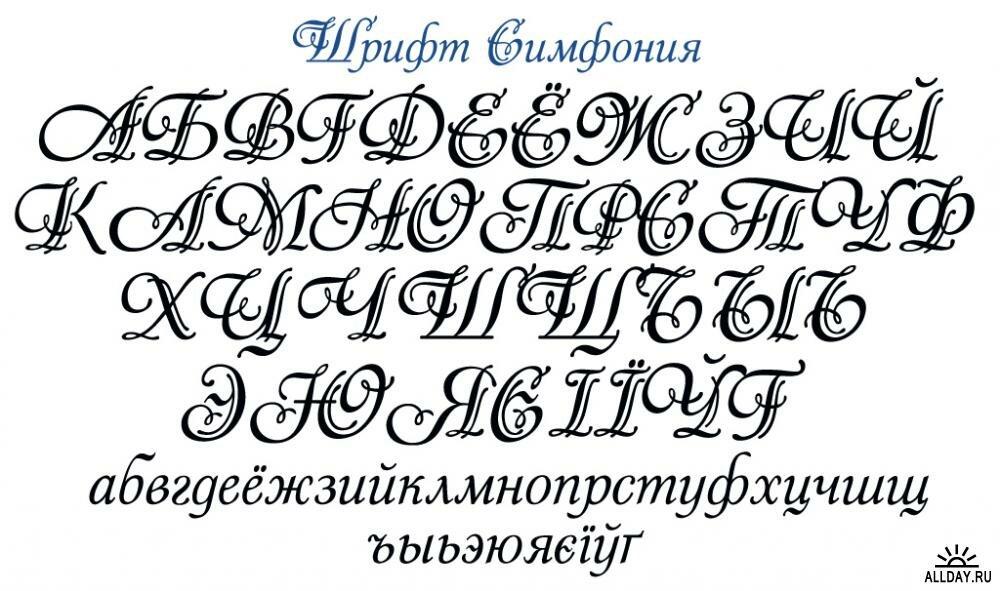 Образцы шрифтов для открыток