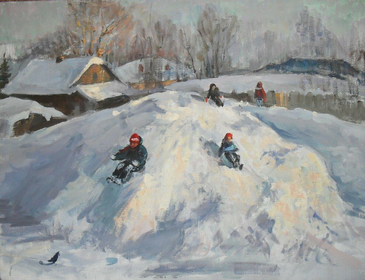 Катание с горки картинки зима