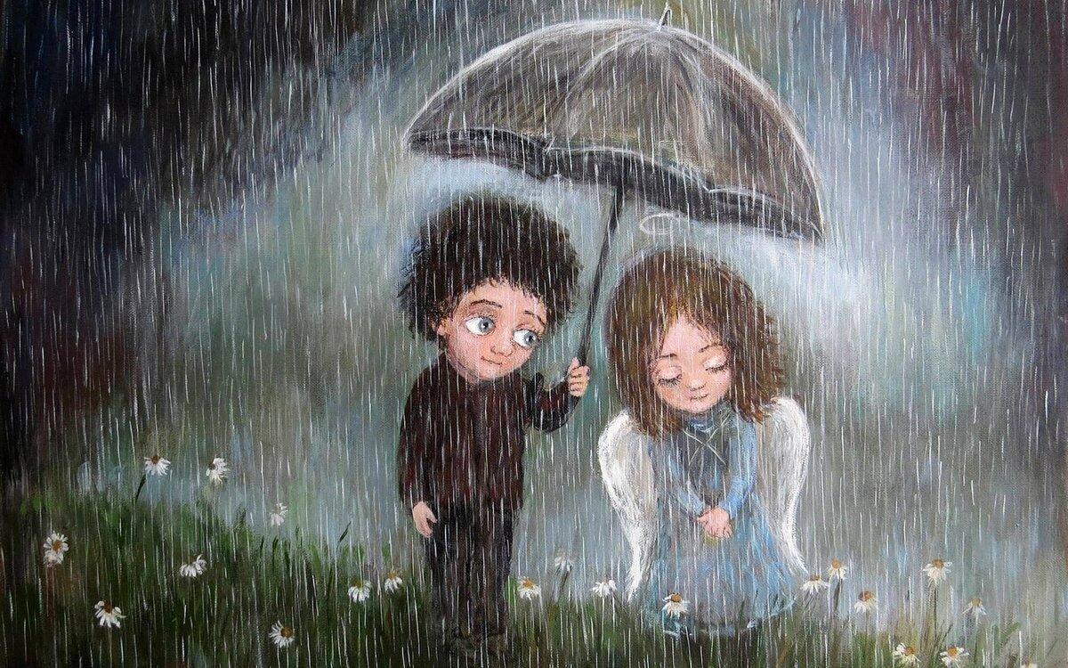все картинки с дождем и человеком следует