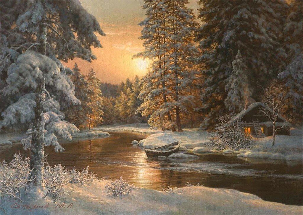 Зимний лес анимашки
