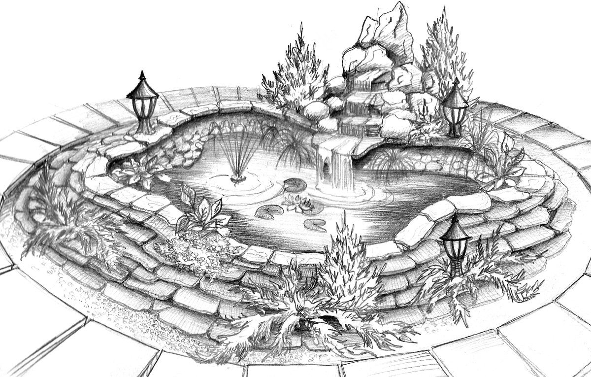 Рисунок фонтана в парке карандашом