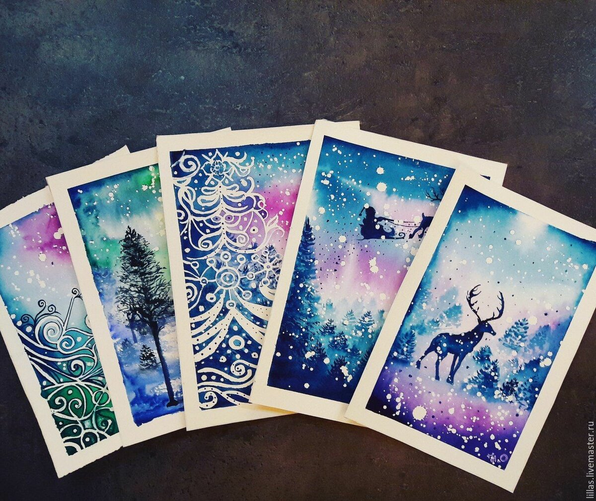 Новогодние открытки рисунки акварелью, смыслом надписями разные