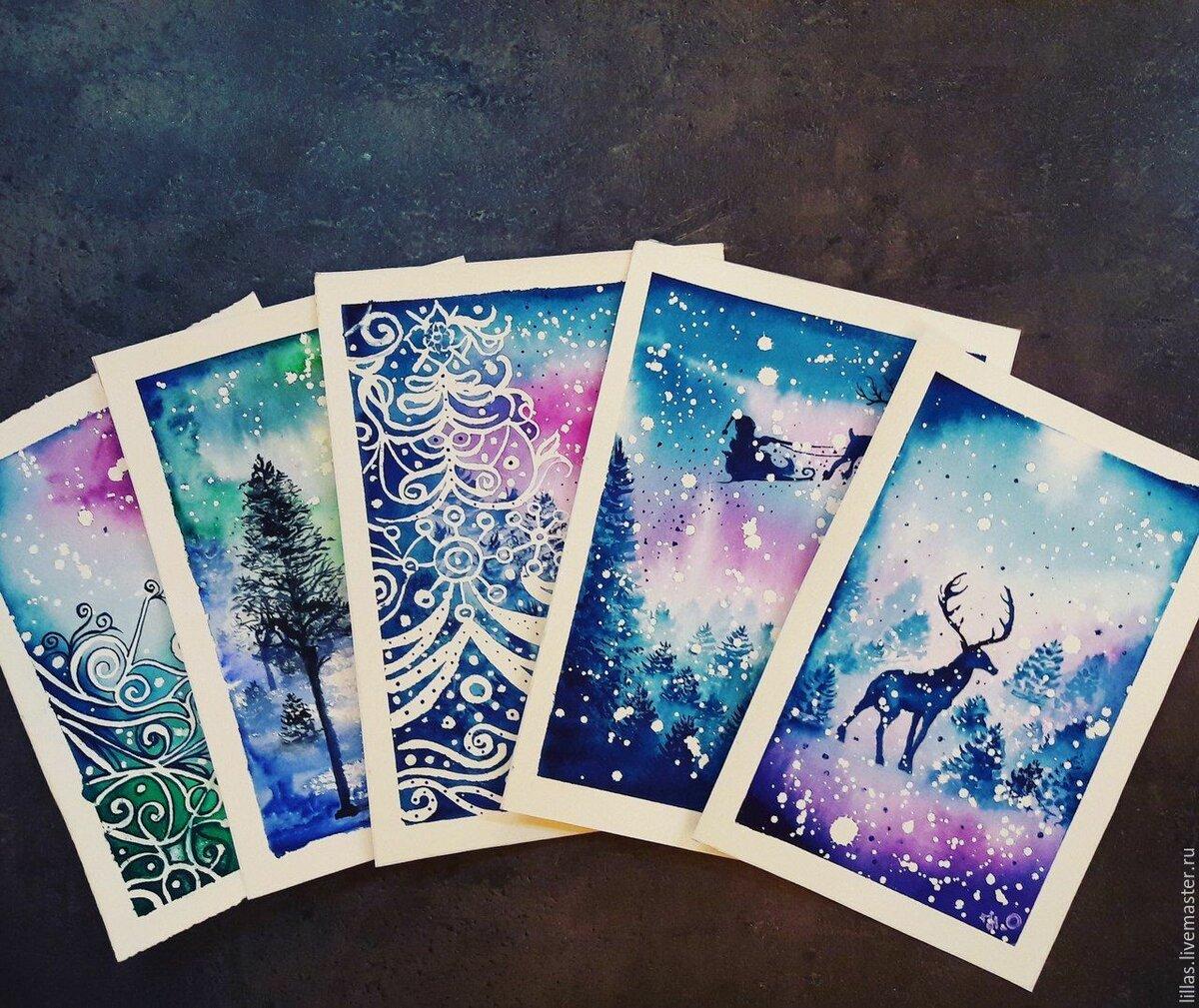 Новогодние открытки акварелью фото