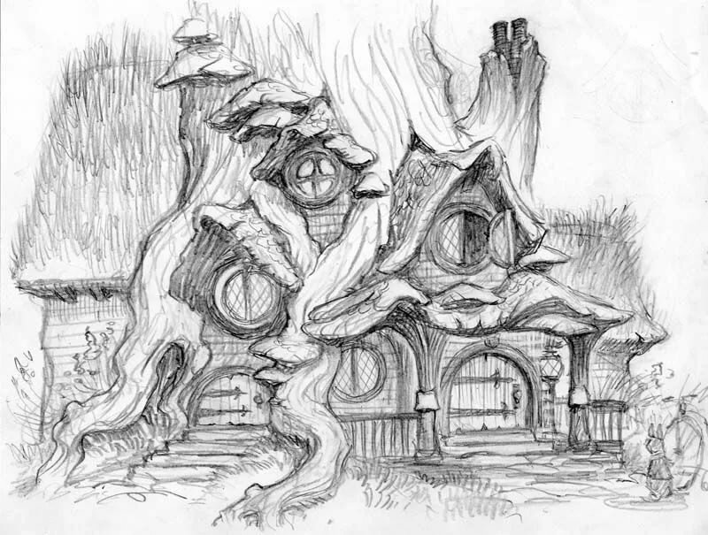 колодку сказочный лес рисунки карандашом торт холодильник