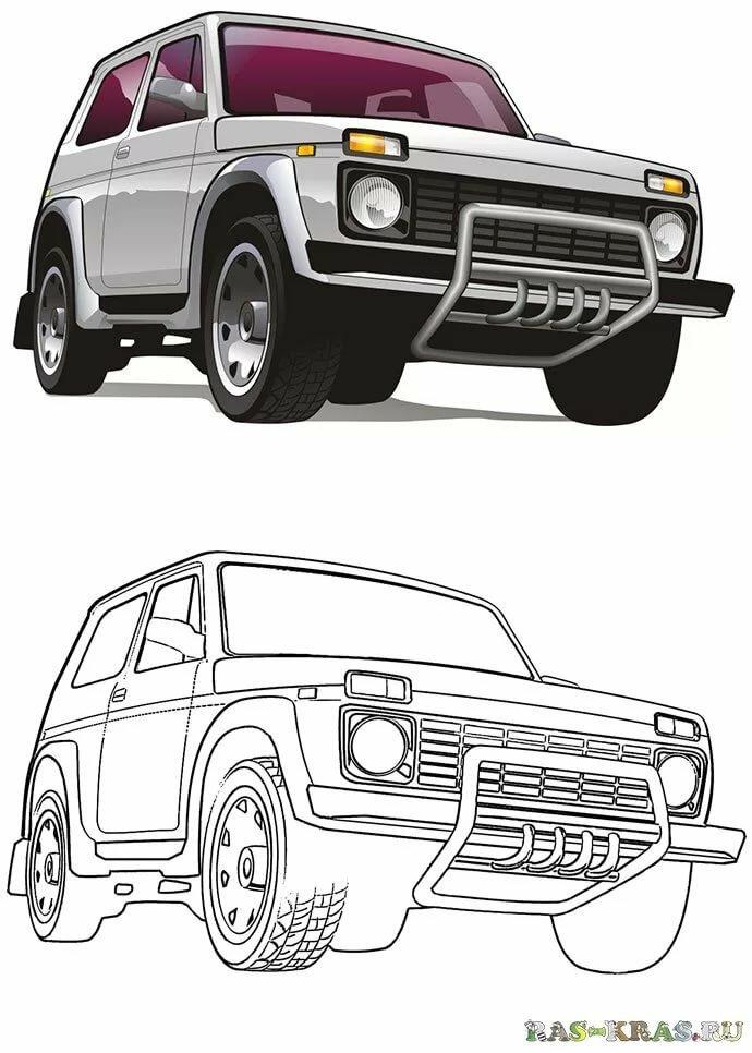 «Раскраска машины Нива ВАЗ-2121 - распечатать или скачать ...