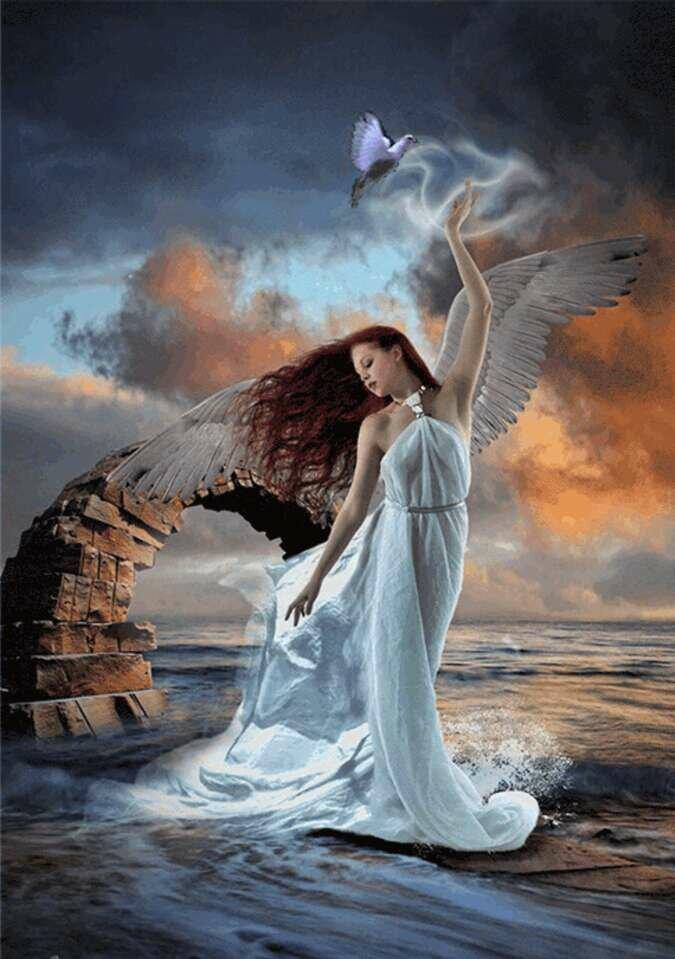 Анимированные картинки девушки ангелы