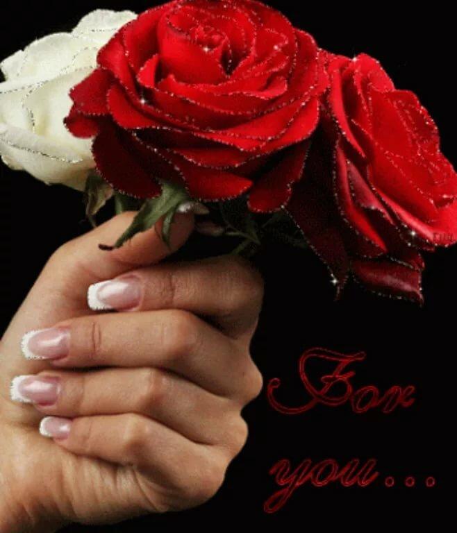 Своими, картинка роза в руках с анимацией