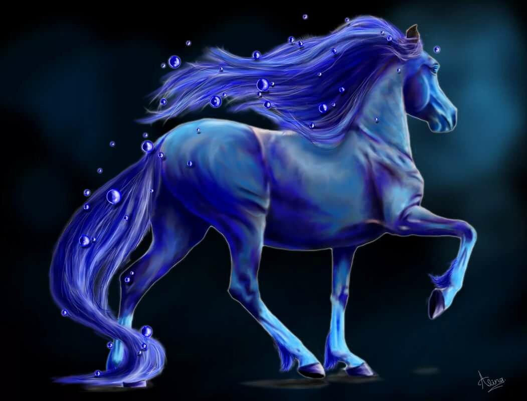 воздействие картинки с лошадьми голубой зелено уютно