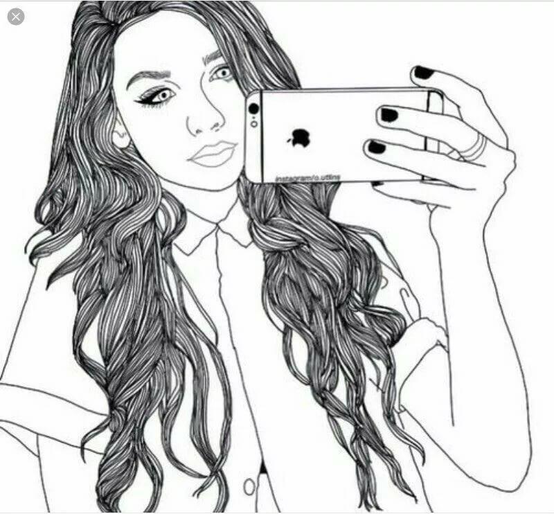 Мультяшные картинки девушек с айфоном