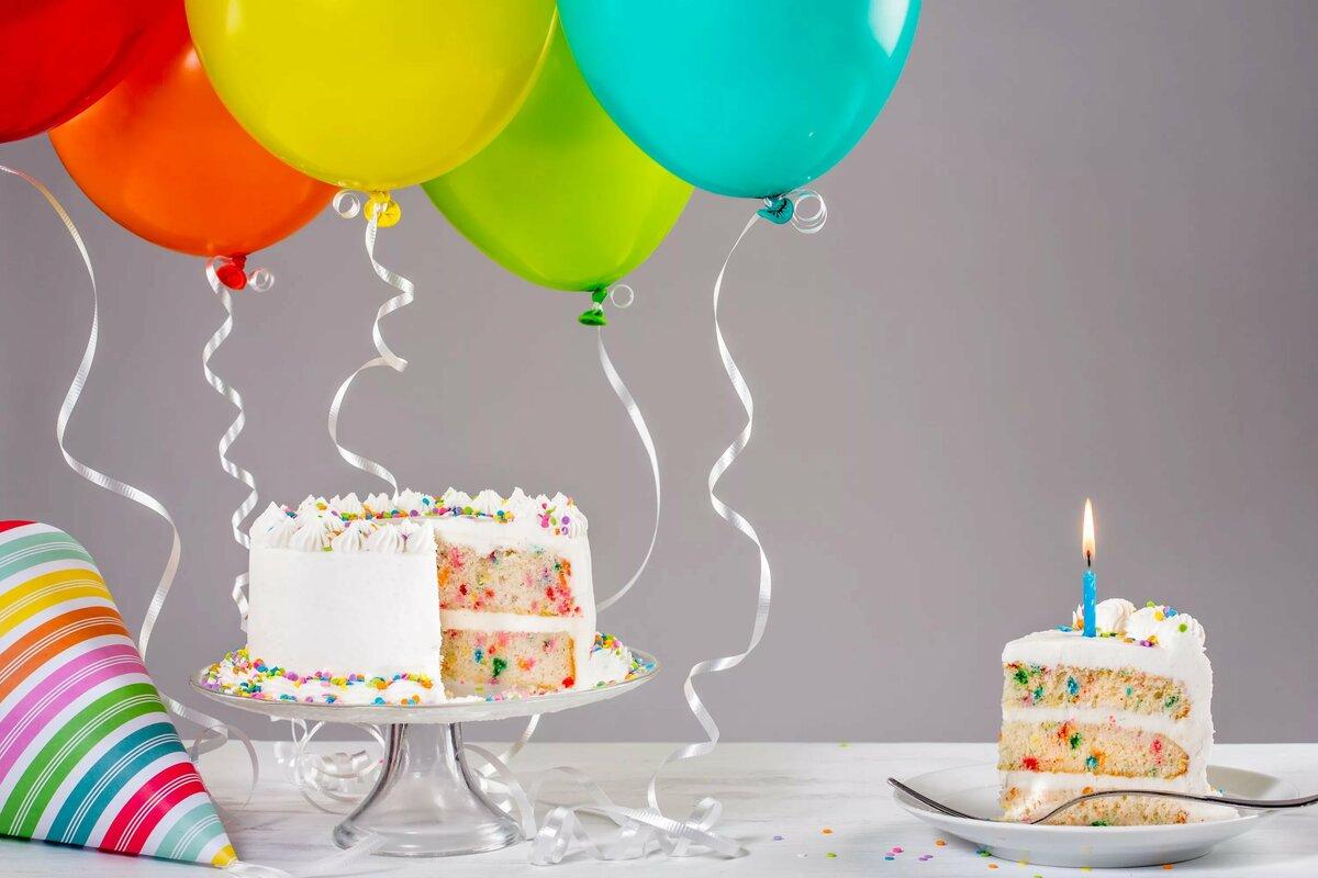открытки с тортом и шарами и подарками