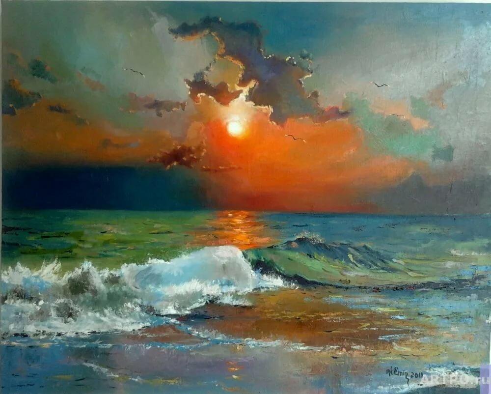 цветная картина море закат легко трансформировать