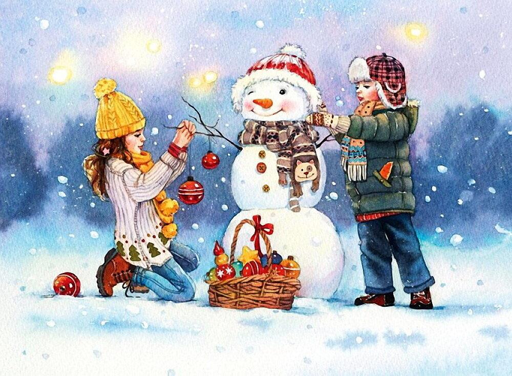Картинка снеговики девочка и мальчик