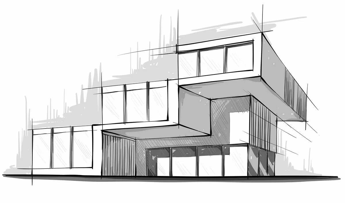 рисунок здания в стиле модерн