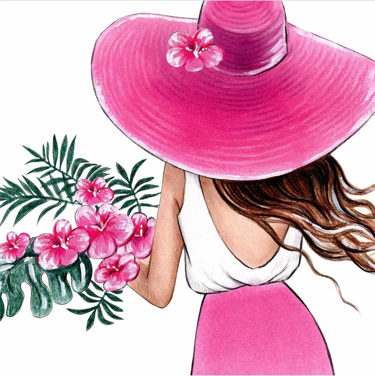 Открытки с девушками в шляпе