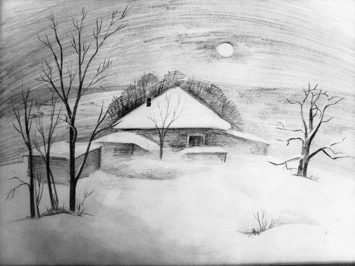 Зимний рисунок карандашом картинки