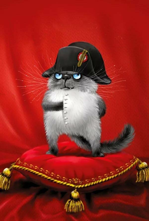 Фикс, прикольная открытка котики