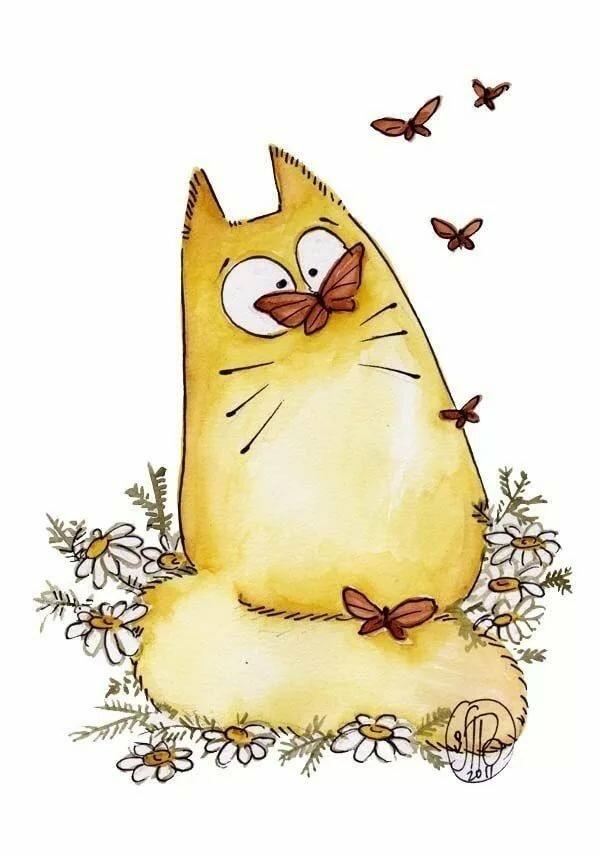 Картинки нарисованных прикольных котиков, днем рождения
