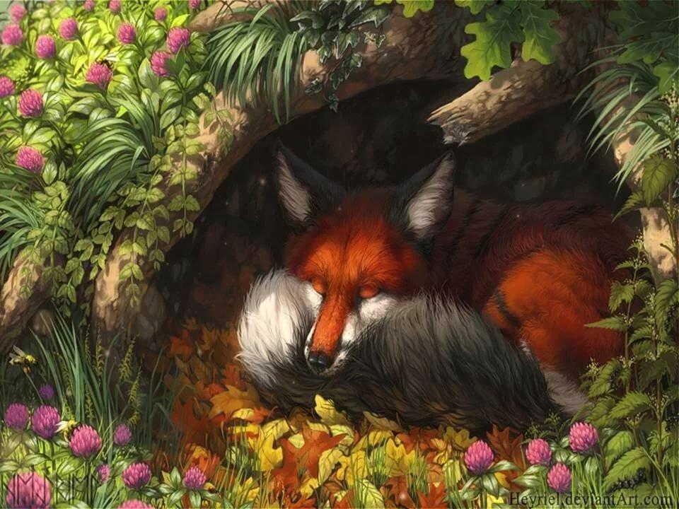 рисунок лисы с лисятами в норе нашем большом коллективе
