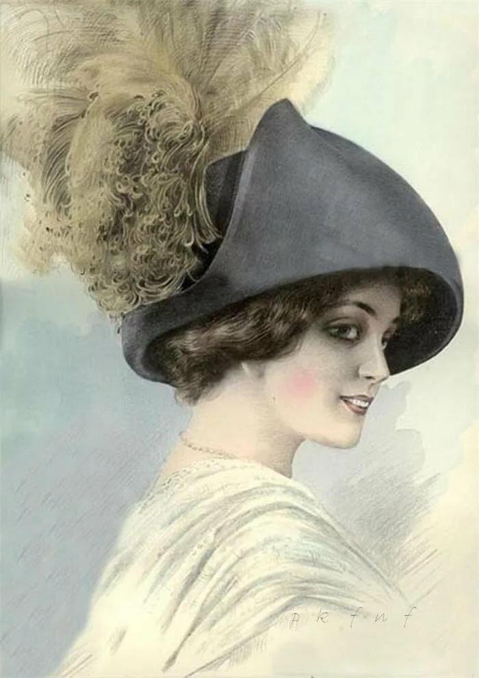 Старые открытки шляпки, открытках летием