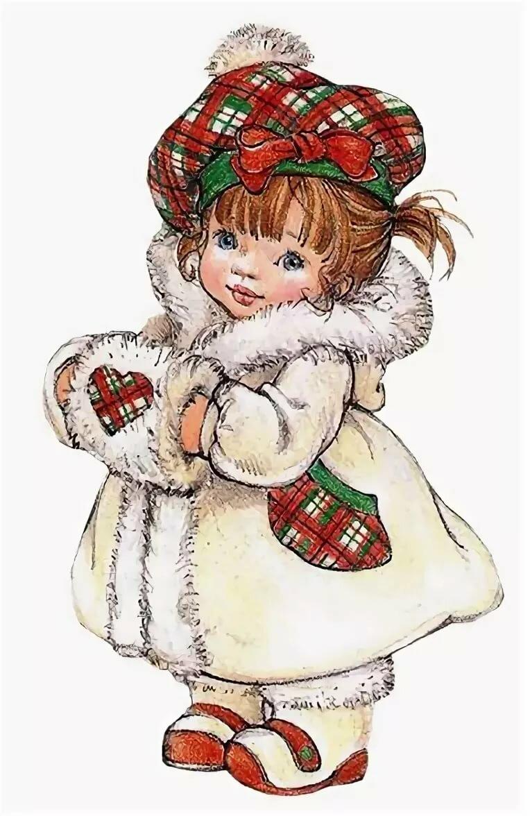 Картинка для детей девочка в шубе