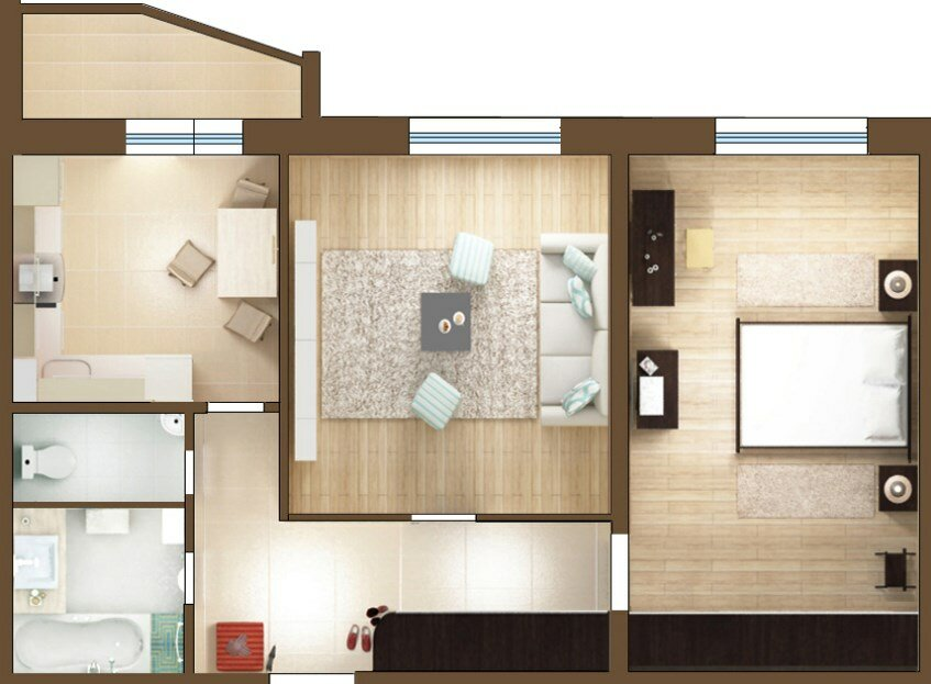 Двухкомнатная квартира в картинках