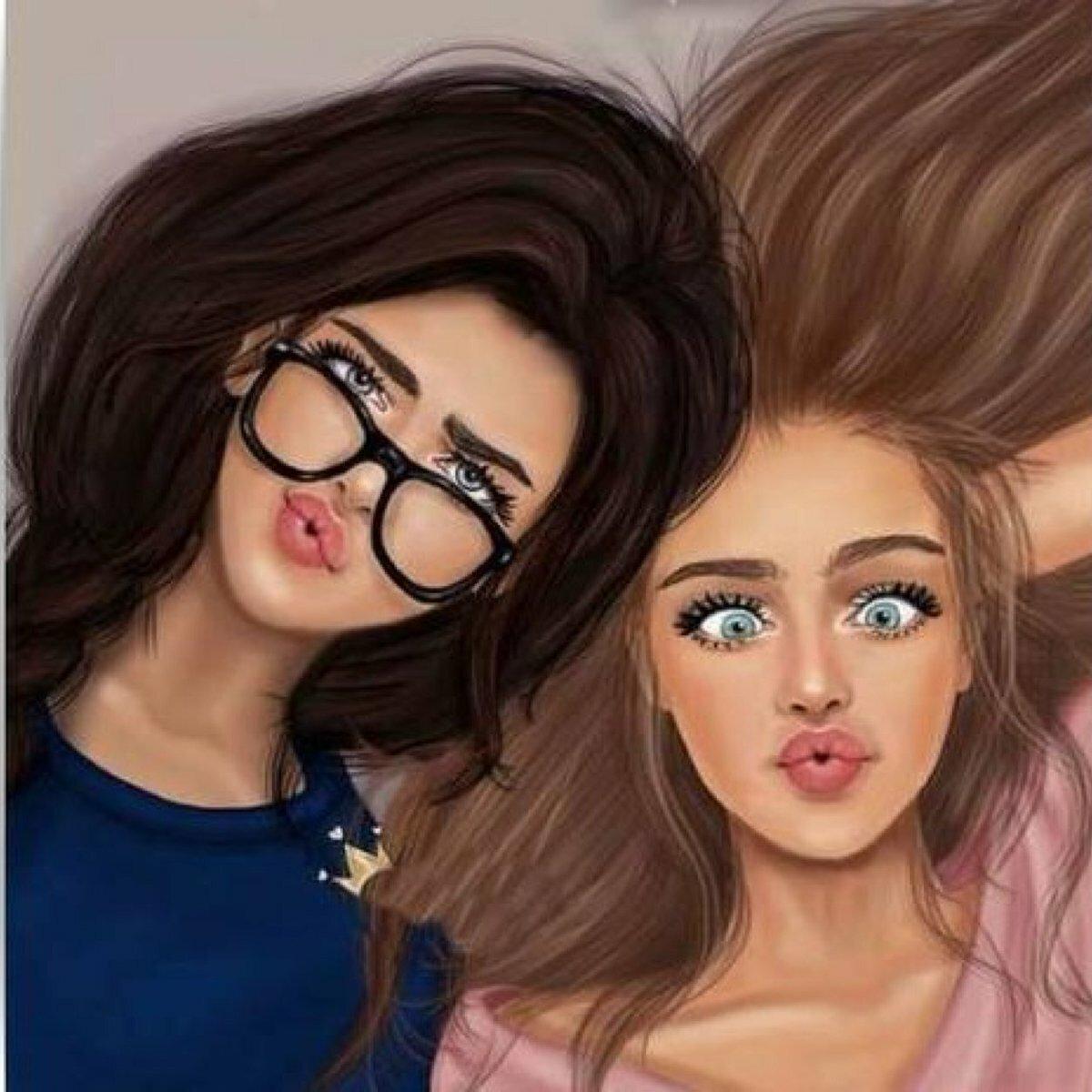Фото с подружкой картинки нарисованные