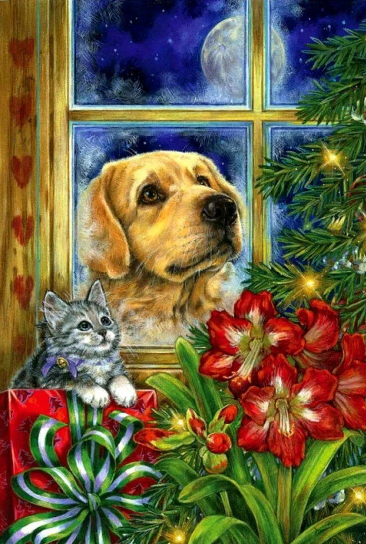 новогодние открытки с щенками