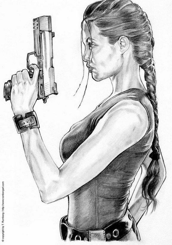 Красивые рисунки девушка с пистолетом