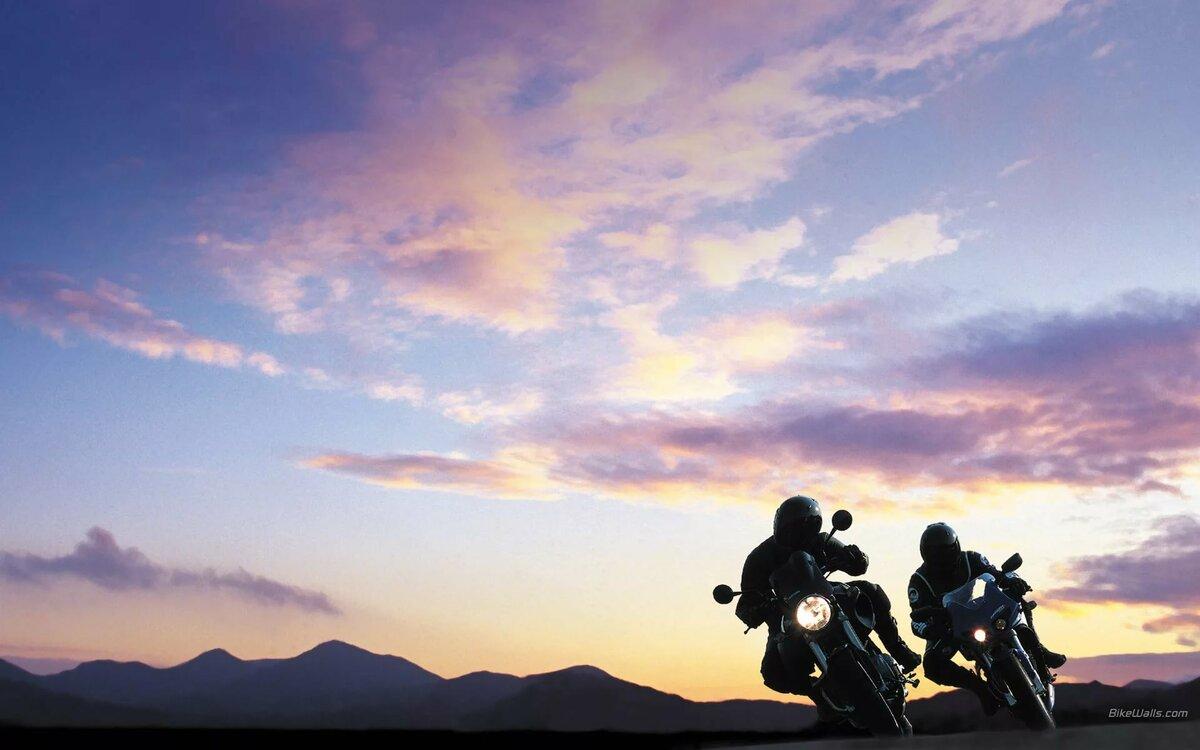 картинки мотоциклистов и закат звездами