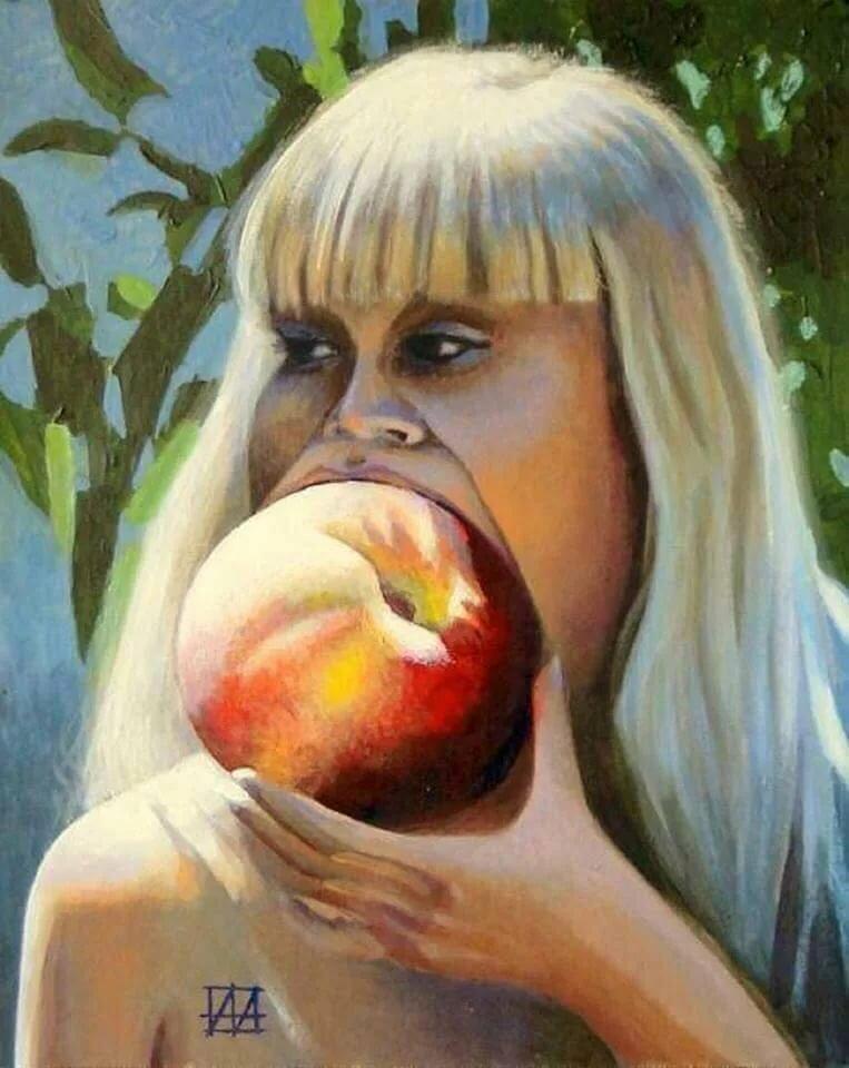 Унывай, смешная картинка девочка с персиками