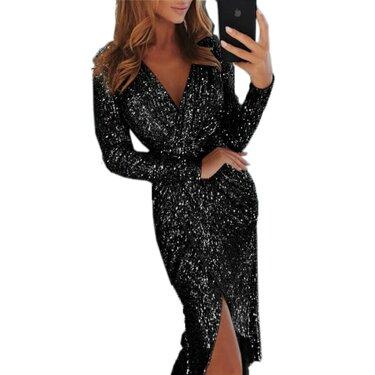 0431cce95f330d4 Женское Новогоднее вечернее платье для вечеринки женское сексуальное  Клубное блестящее платье с разрезом пуш ап с v образным вырезом вечерние  длинные платья ...