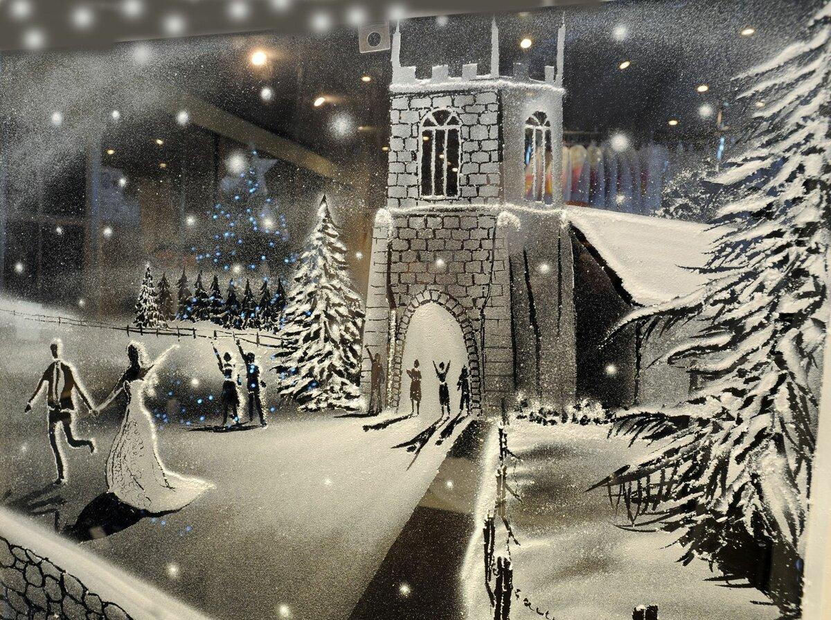 Снежные рисунки на окнах к новому году