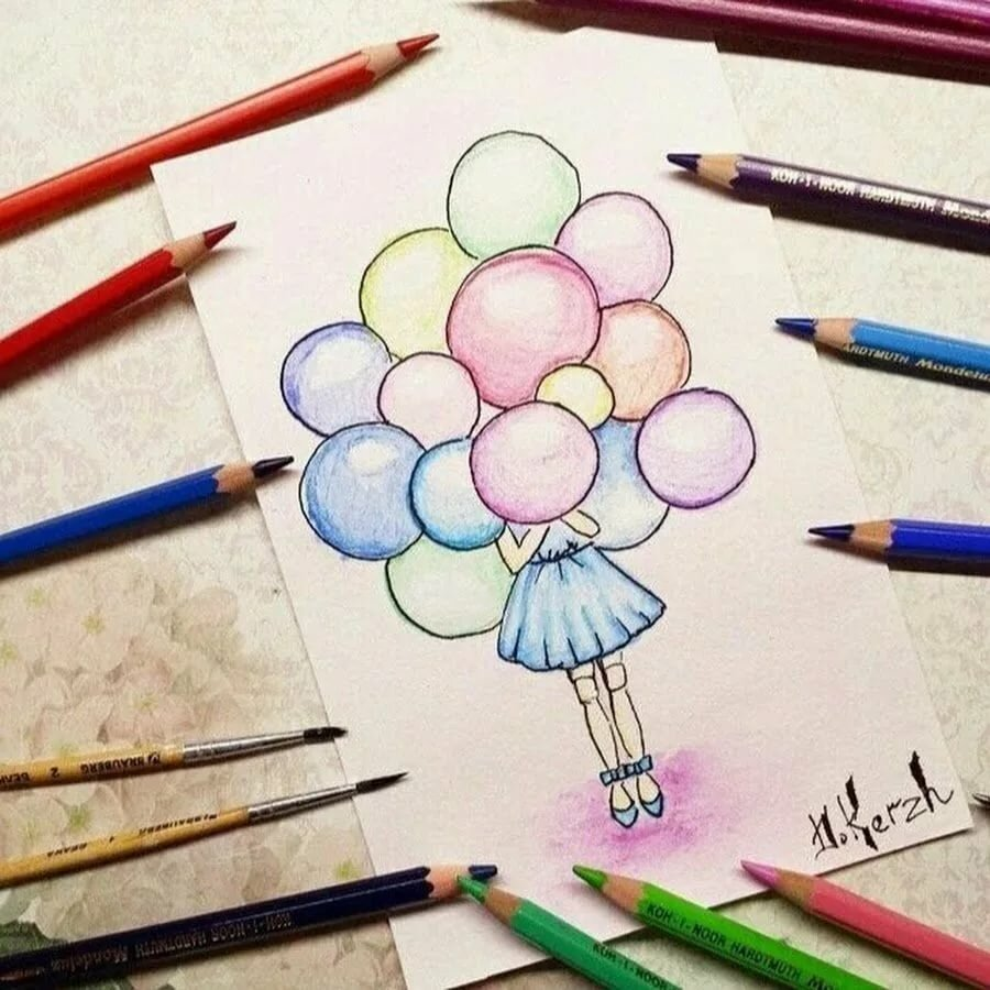 Ватсап мужу, прикольные легкие рисунки цветными карандашами