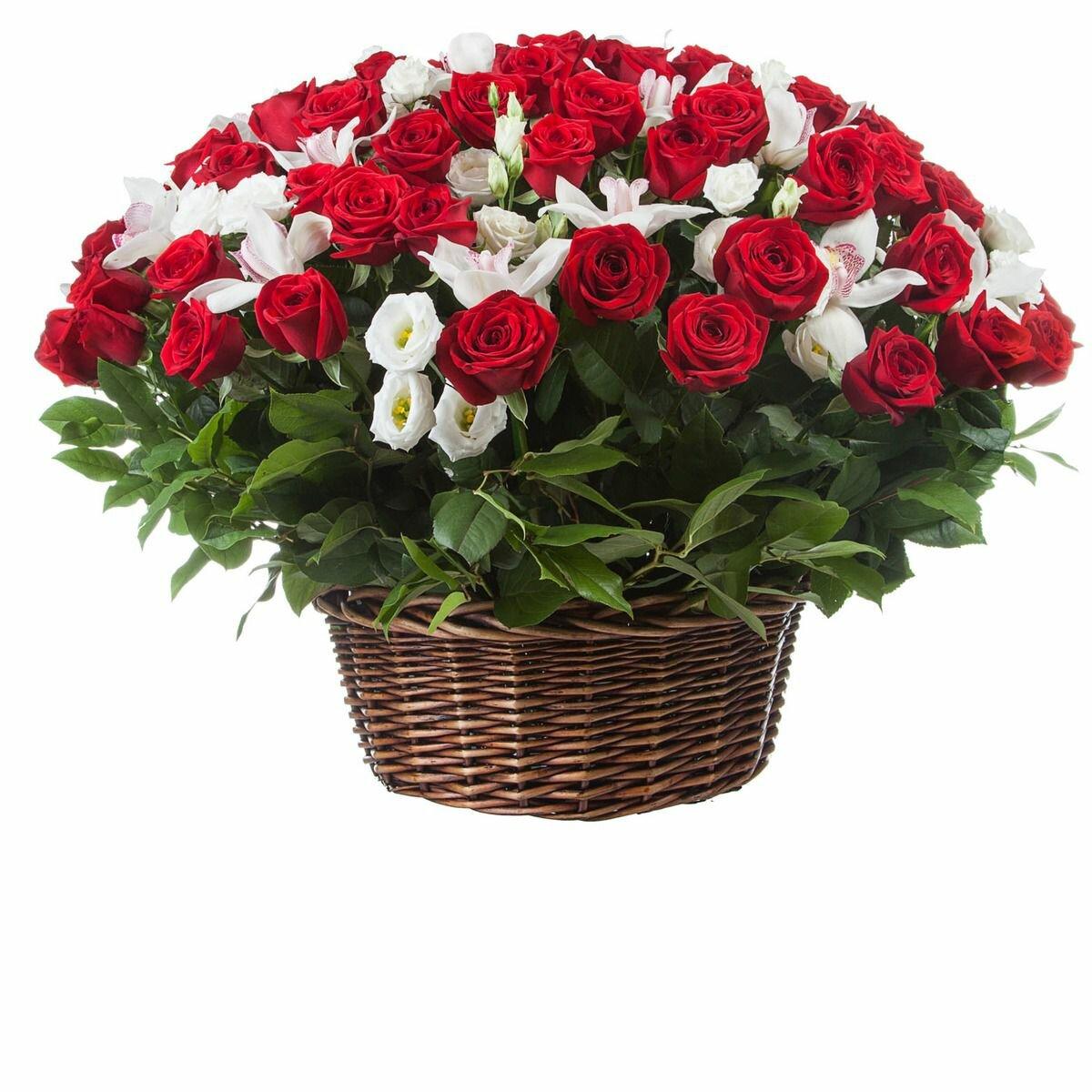 Годовщине, открытки корзина красных роз