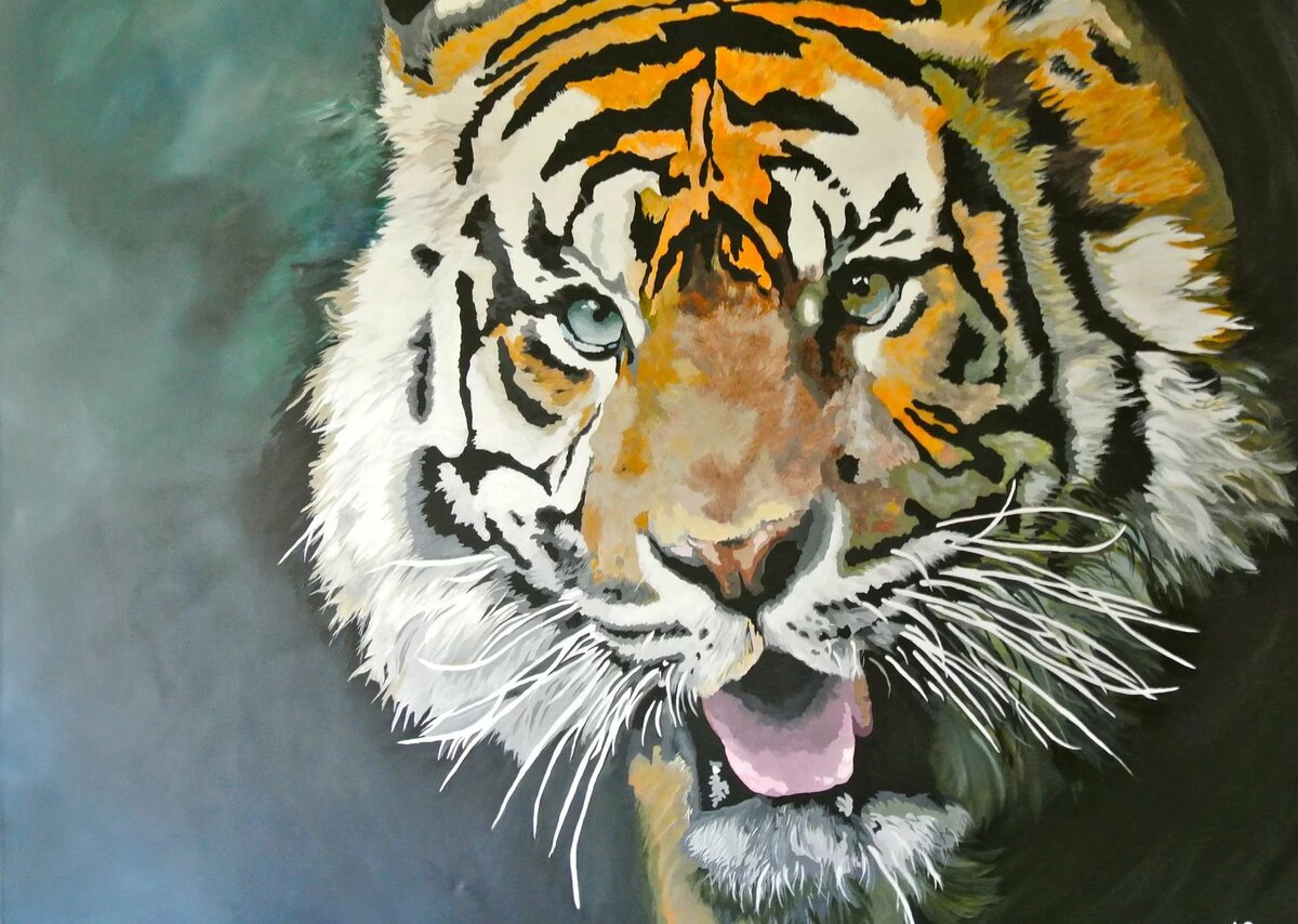 маску, картинки тигров красками сроках