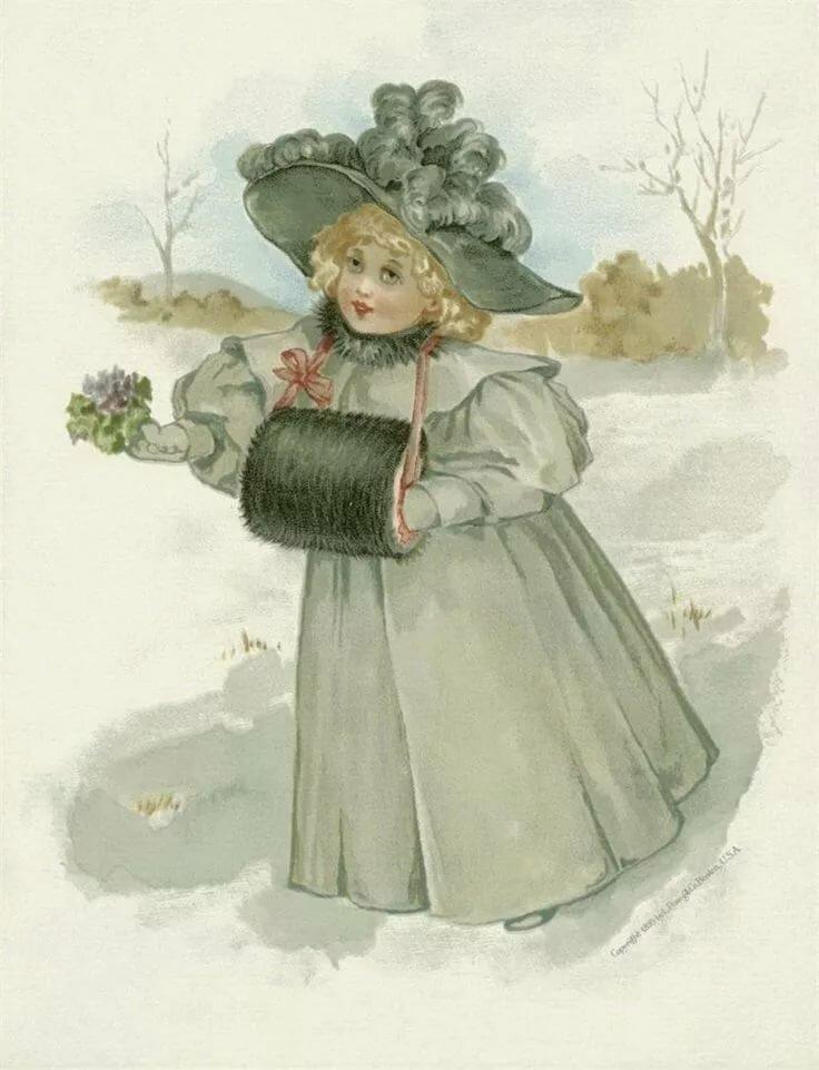 Старые открытки с детьми зимой, открытку днем