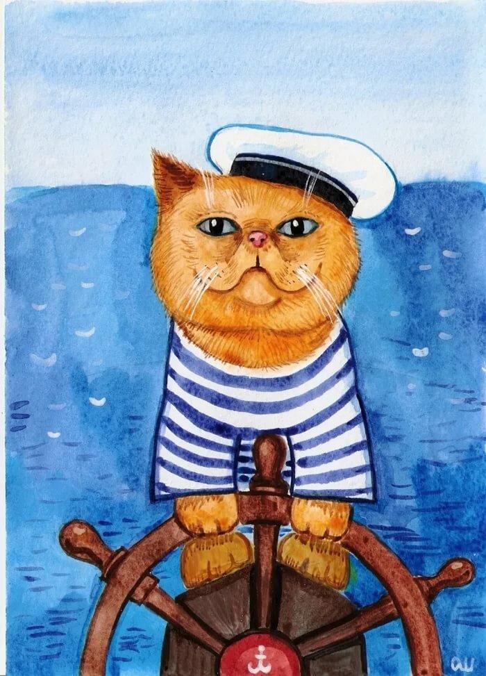 Открытки на 23 февраля морякам кот моряк