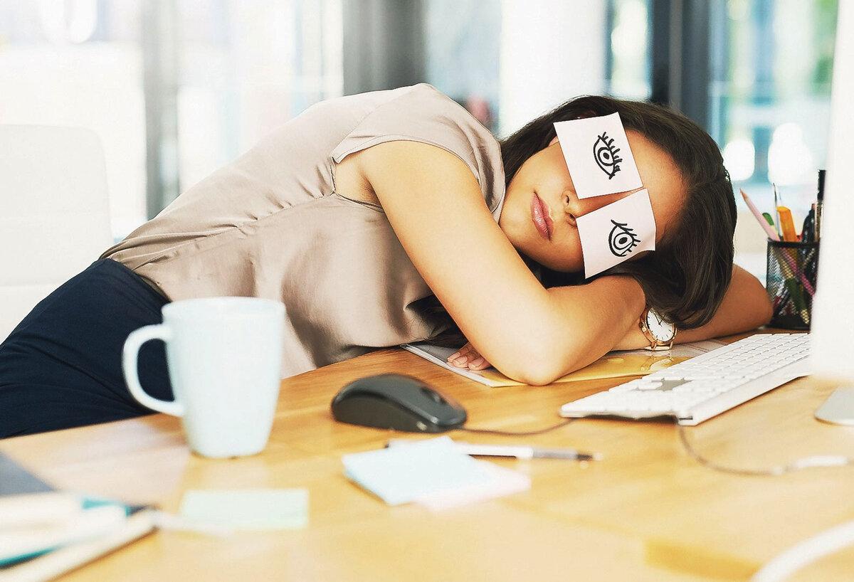 Смешная картинка спит на работе