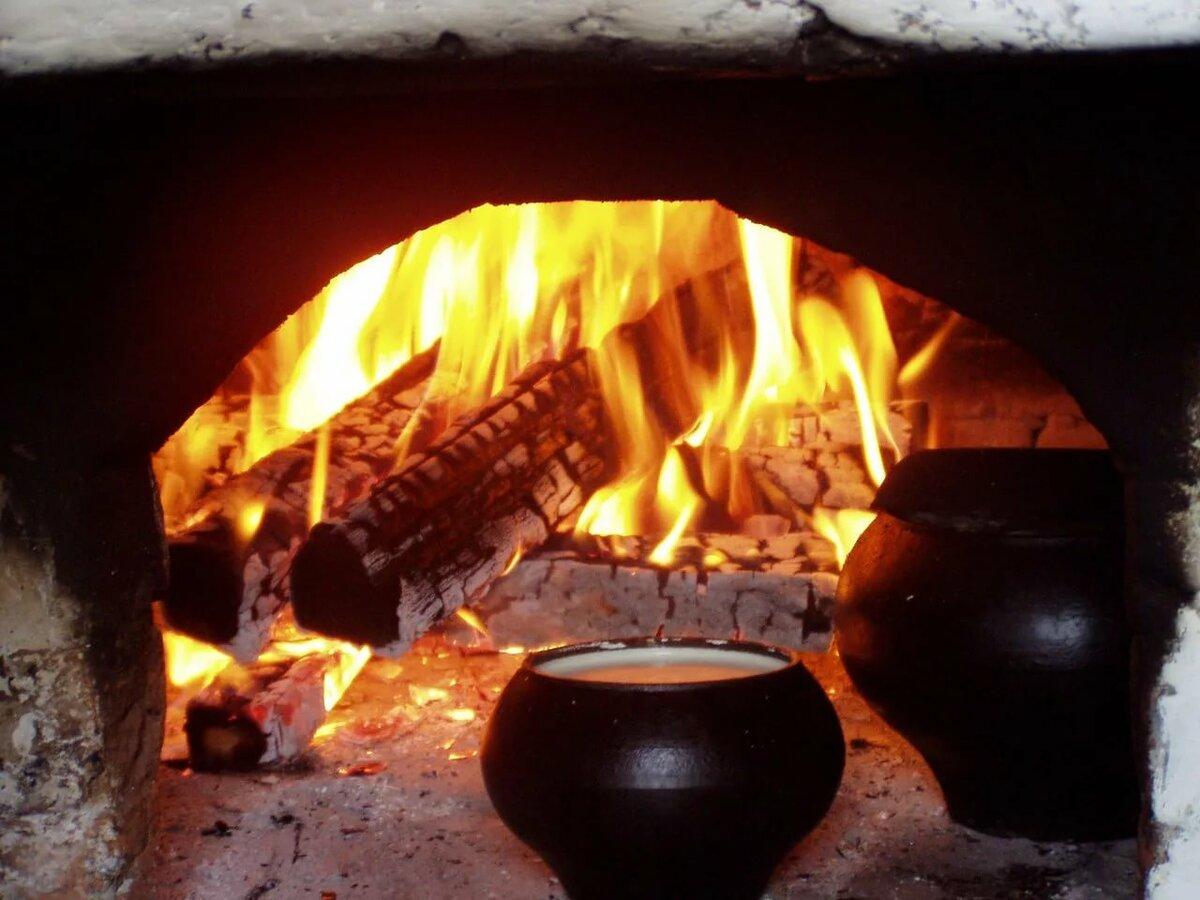 картинки огонь в русской печи