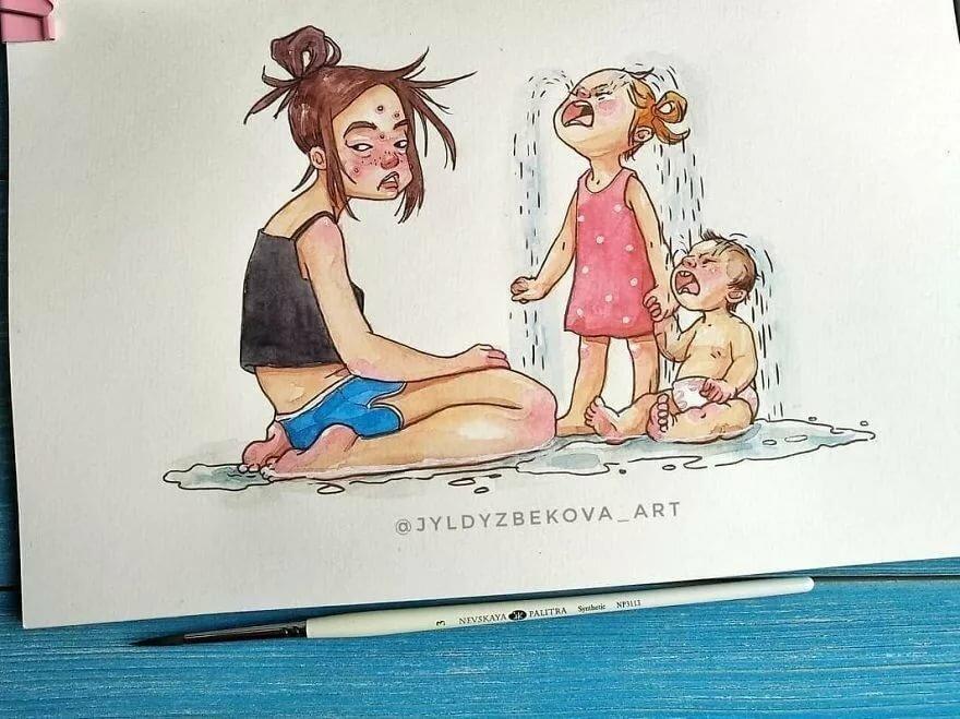 Рисунки для мамы прикольные, открытки про отпуск