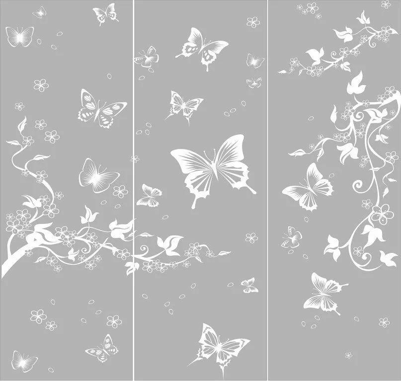 Бабочки на зеркале шкафа купе фото