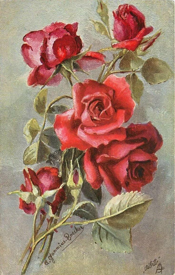 Открытки старинные цветы, открытки марта