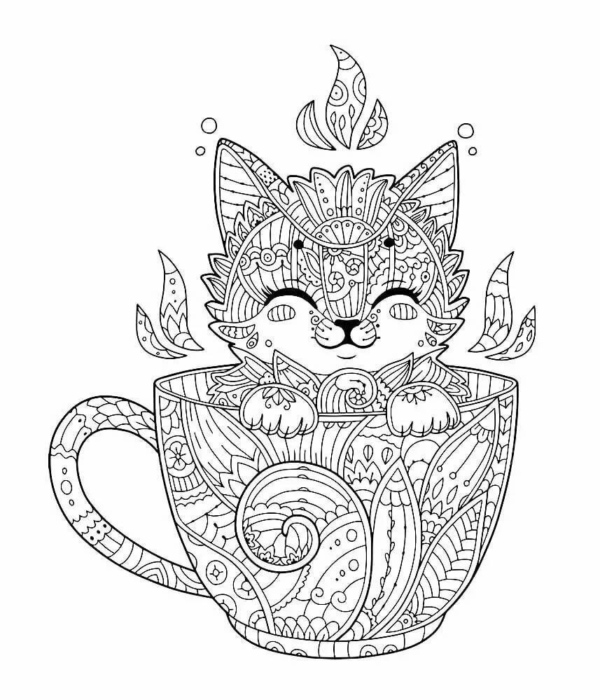 раскраска котик антистресс распечатать минеральной воды