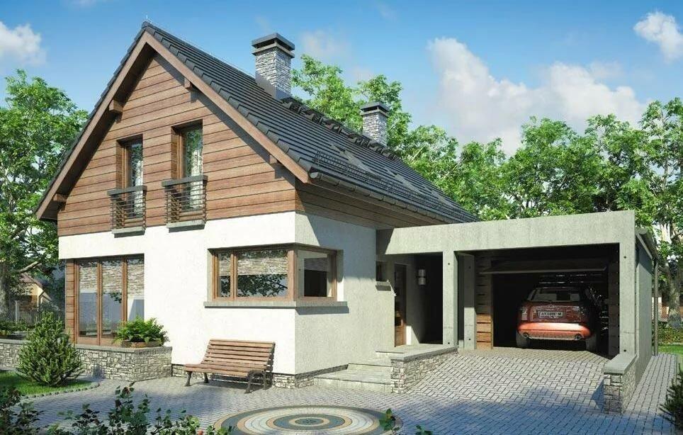 проект дома из пеноблоков с гаражом