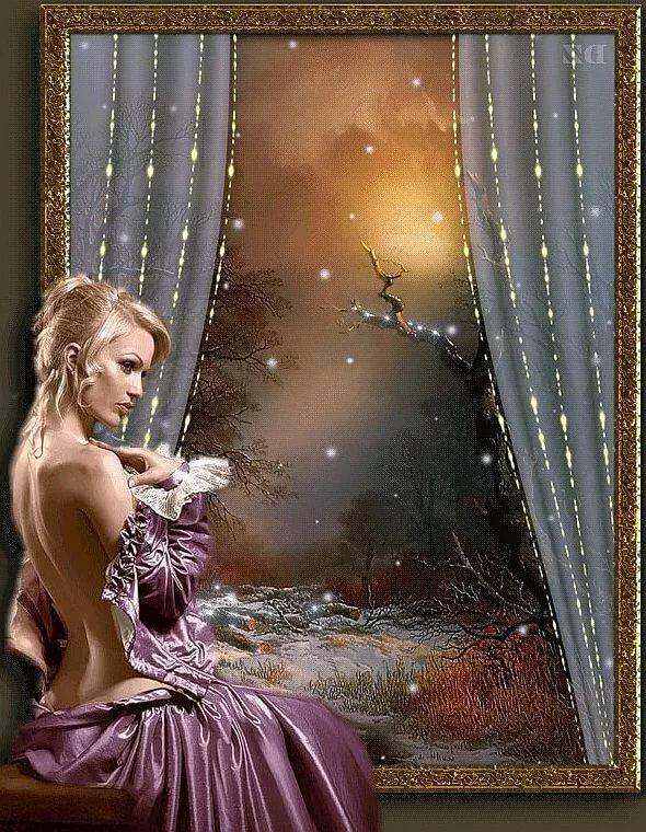Гифки добрый вечер и спокойной ночи картинки красивые девушки и мужчины, картинка мульт открытка