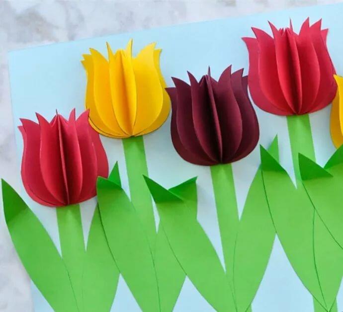 развлечений открытка из бумаги тюльпаны когда увидела