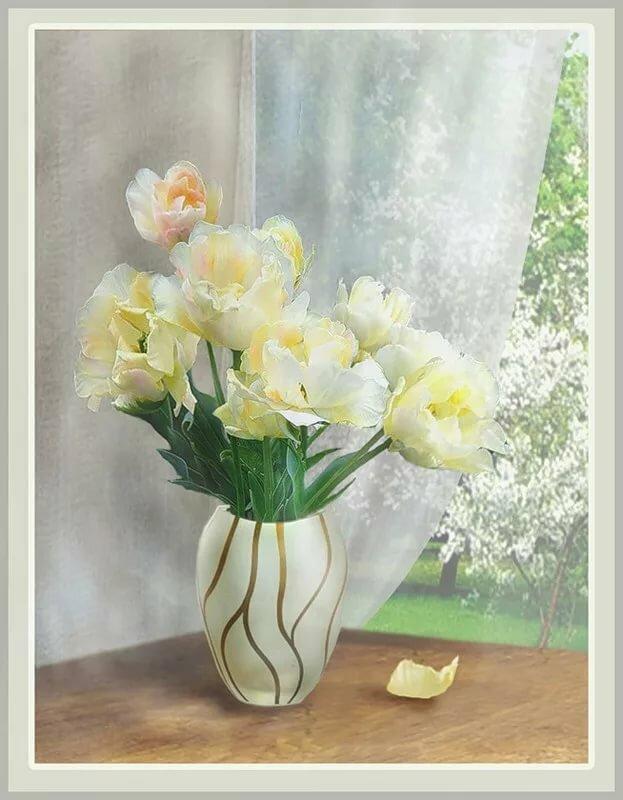 тюльпаны в фарфоровой вазе фото это
