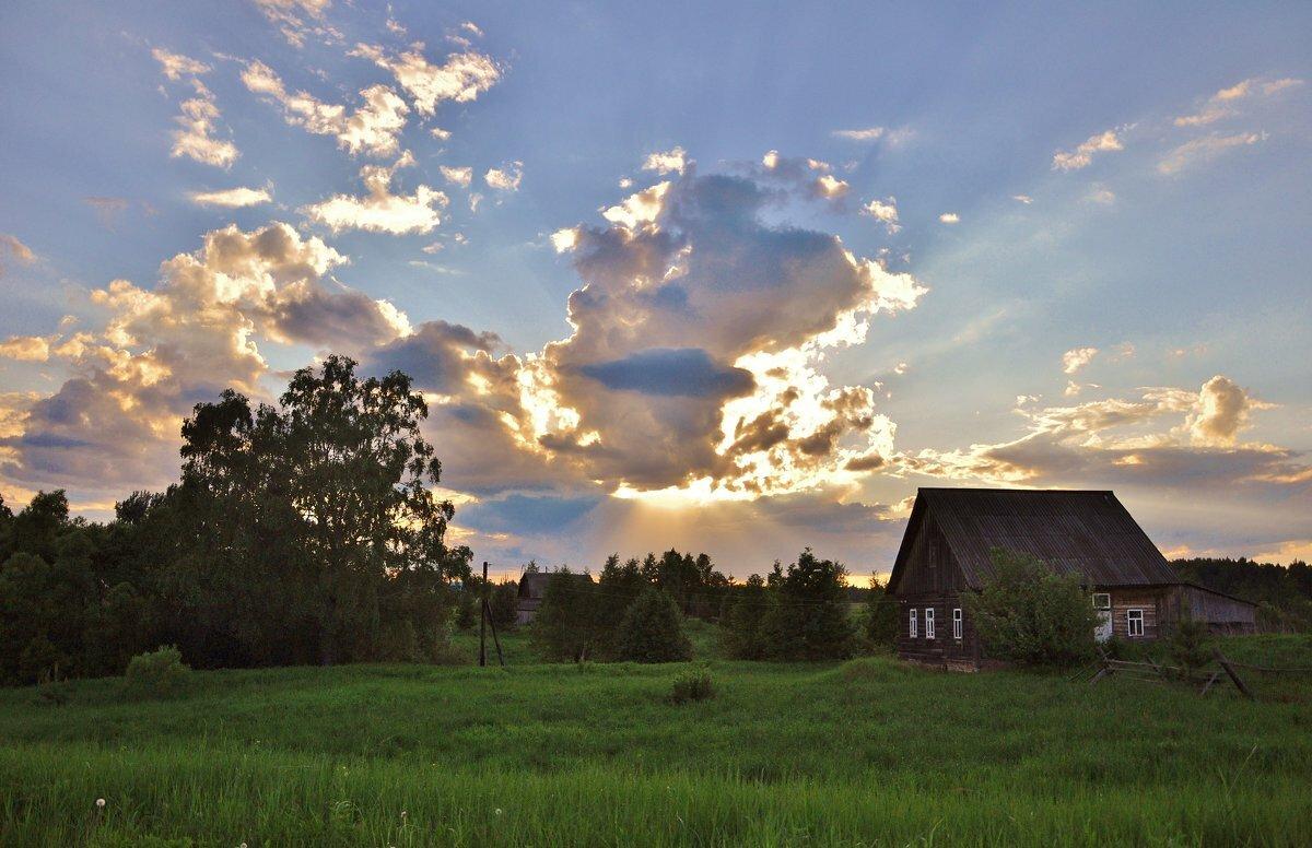 Картинки лето вечер деревня его фотография