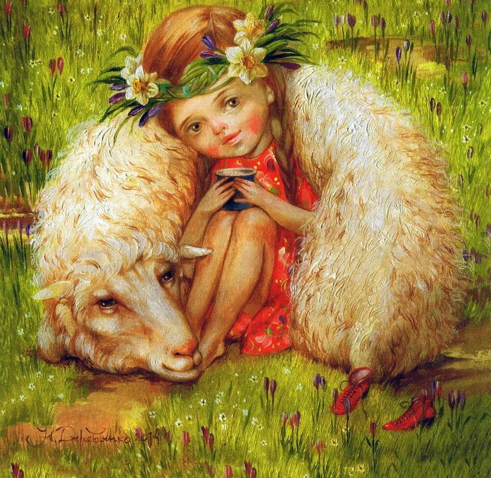 нежность трогательность пастушка и овечка картинки днем